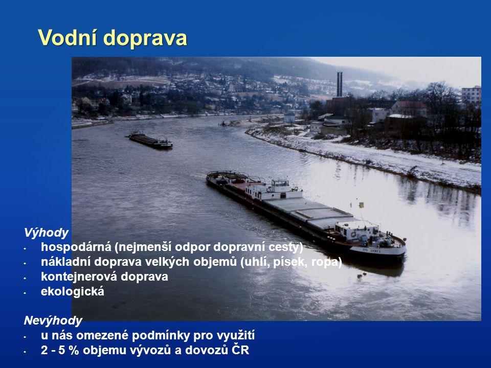 Vodní doprava Výhody hospodárná (nejmenší odpor dopravní cesty)