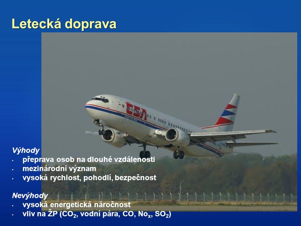 Letecká doprava Výhody přeprava osob na dlouhé vzdálenosti