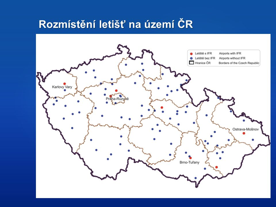 Rozmístění letišť na území ČR