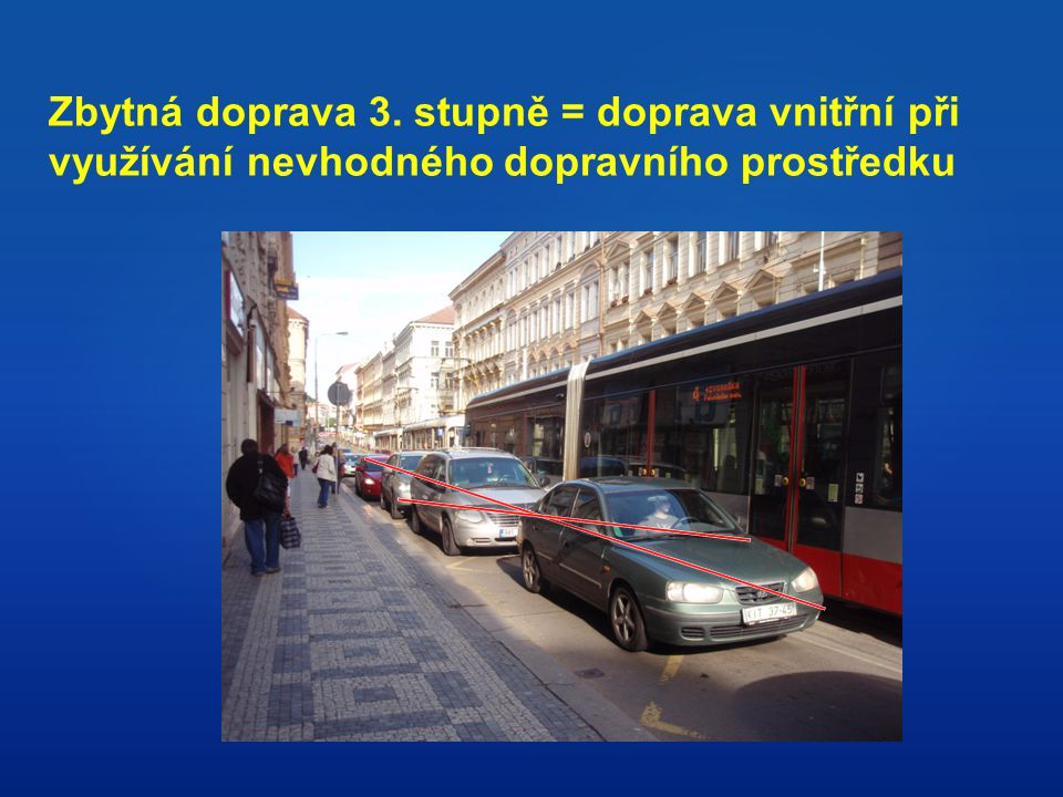 Zbytná doprava 3. stupně = doprava vnitřní při využívání nevhodného dopravního prostředku