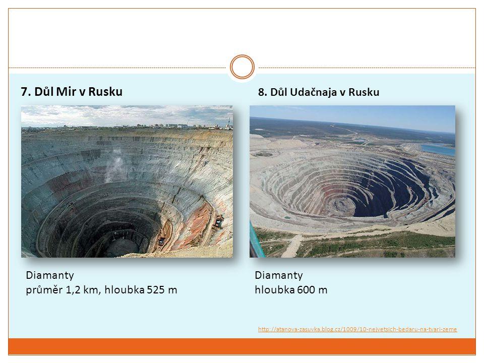 7. Důl Mir v Rusku 8. Důl Udačnaja v Rusku Diamanty