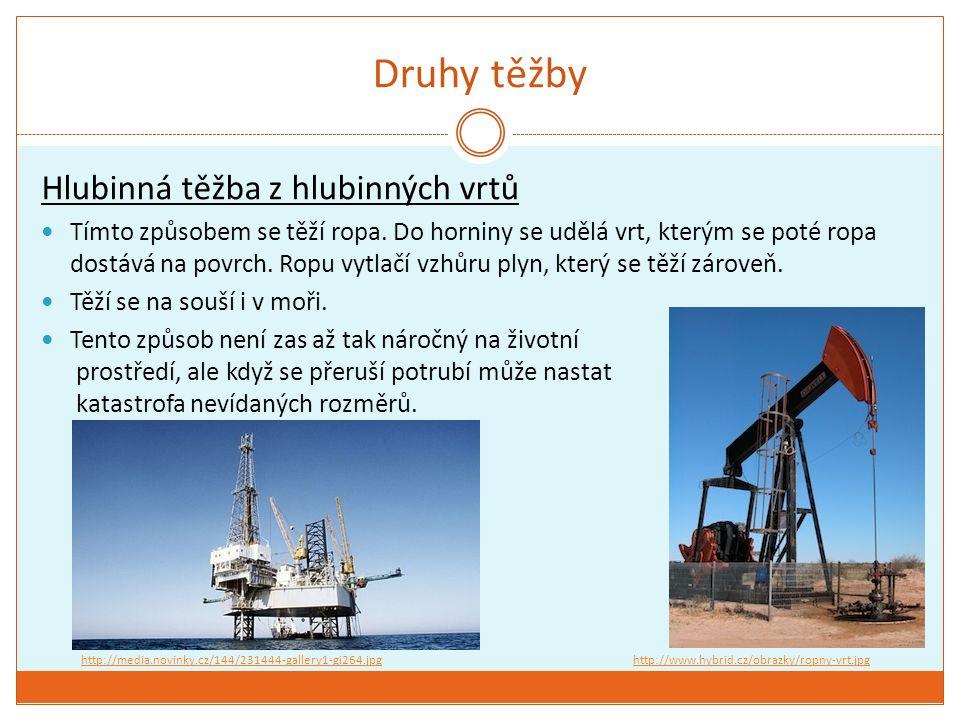 Druhy těžby Hlubinná těžba z hlubinných vrtů