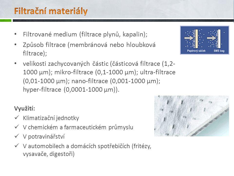 Filtrační materiály Filtrované medium (filtrace plynů, kapalin);