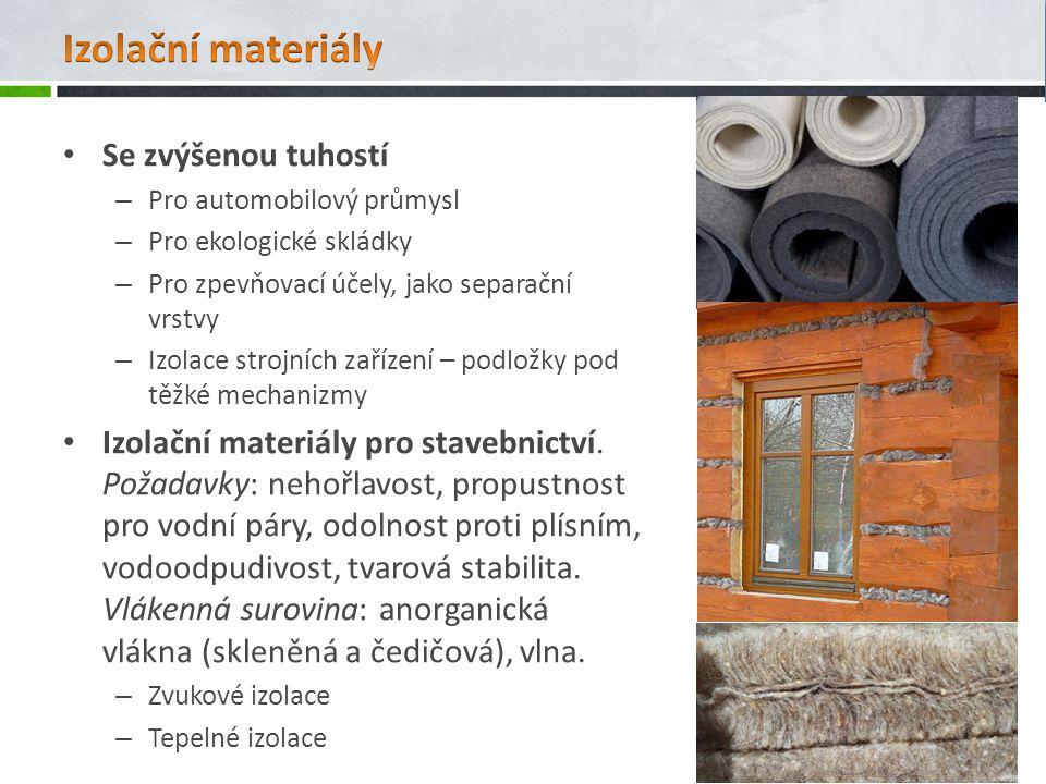 Izolační materiály Se zvýšenou tuhostí