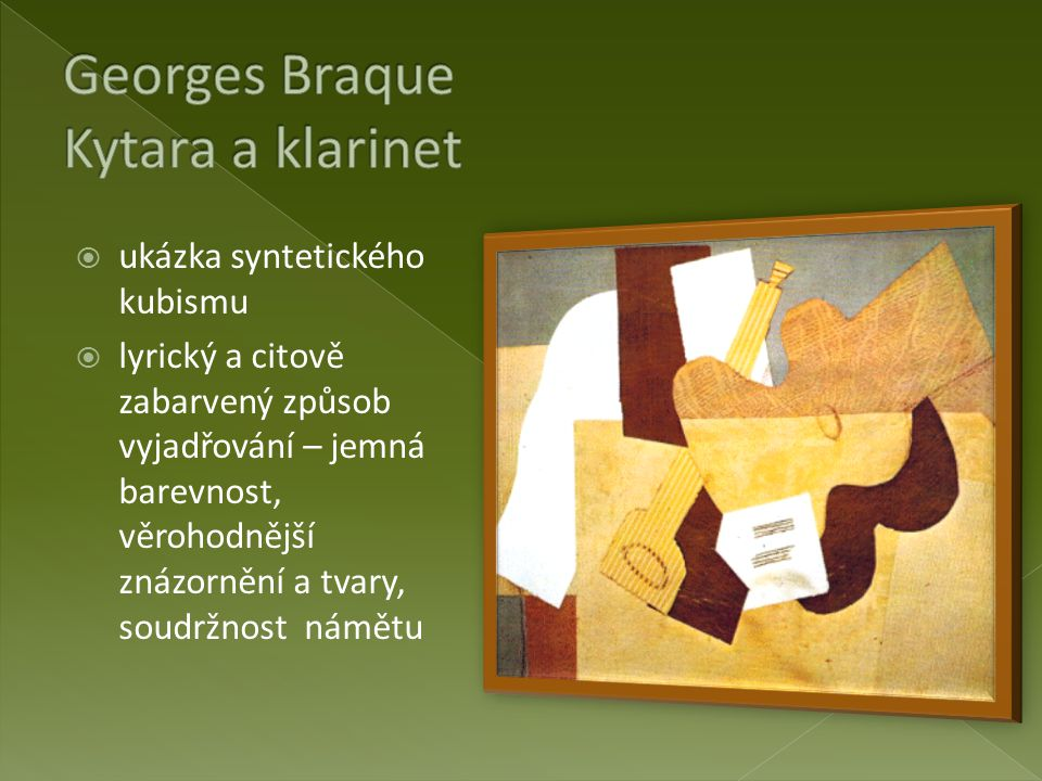 Georges Braque Kytara a klarinet