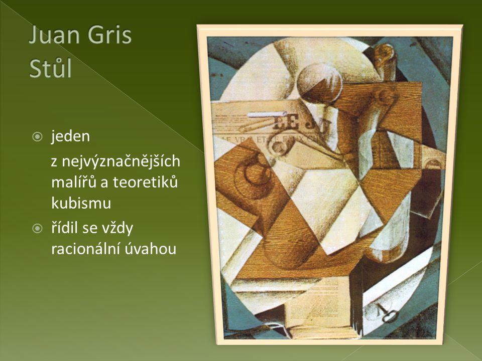 Juan Gris Stůl jeden z nejvýznačnějších malířů a teoretiků kubismu
