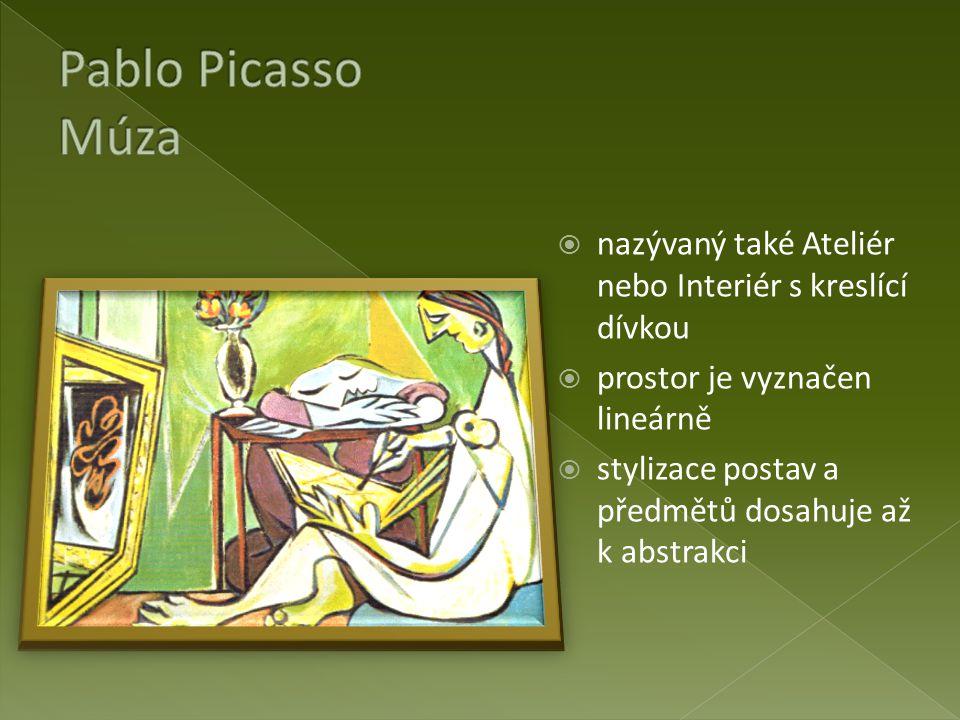 Pablo Picasso Múza nazývaný také Ateliér nebo Interiér s kreslící dívkou. prostor je vyznačen lineárně.