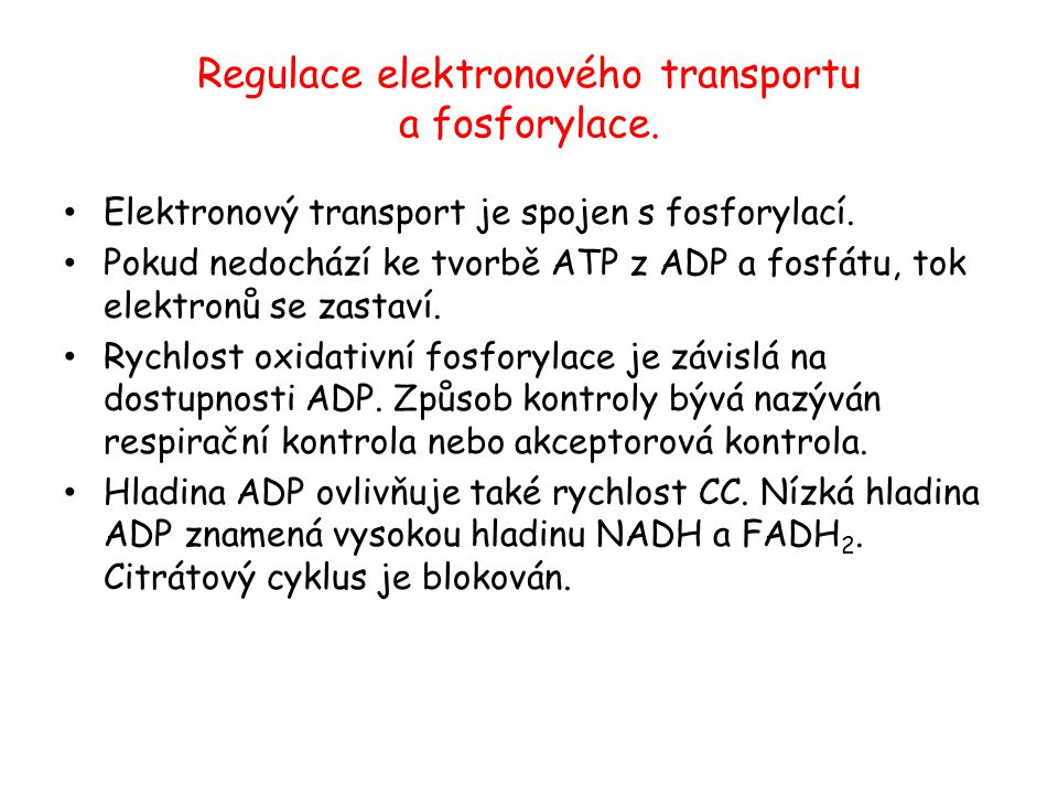 Regulace elektronového transportu a fosforylace.