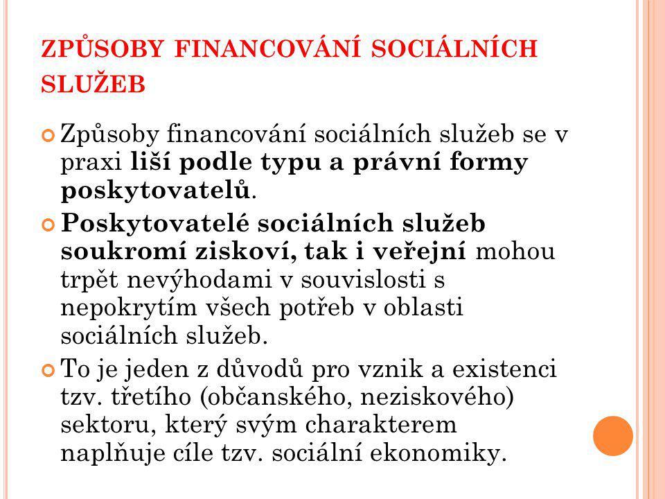 způsoby financování sociálních služeb