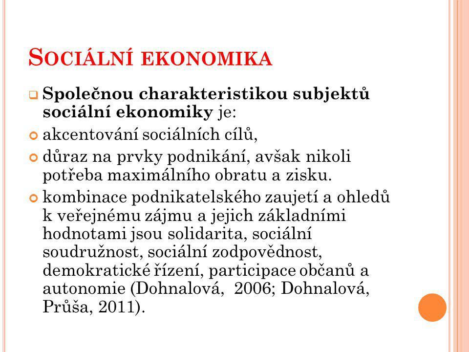 Sociální ekonomika Společnou charakteristikou subjektů sociální ekonomiky je: akcentování sociálních cílů,