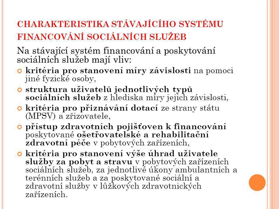 charakteristika stávajícího systému financování sociálních služeb