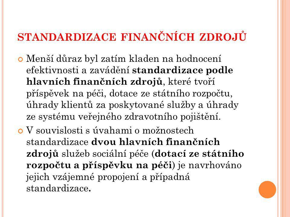 standardizace finančních zdrojů