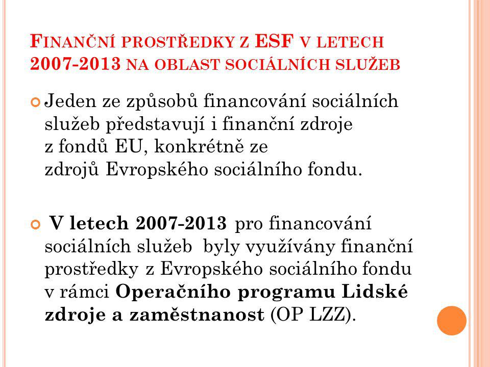 Finanční prostředky z ESF v letech 2007-2013 na oblast sociálních služeb