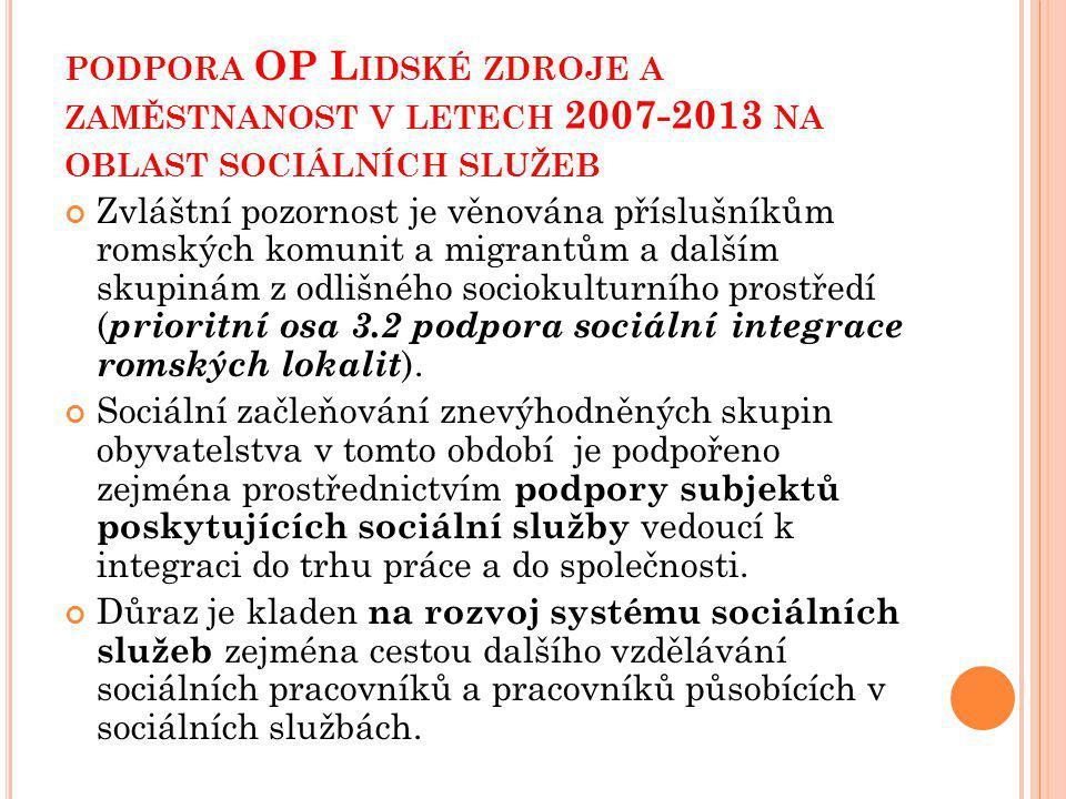 podpora OP Lidské zdroje a zaměstnanost v letech 2007-2013 na oblast sociálních služeb