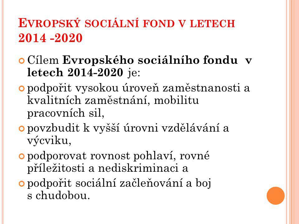 Evropský sociální fond v letech 2014 -2020