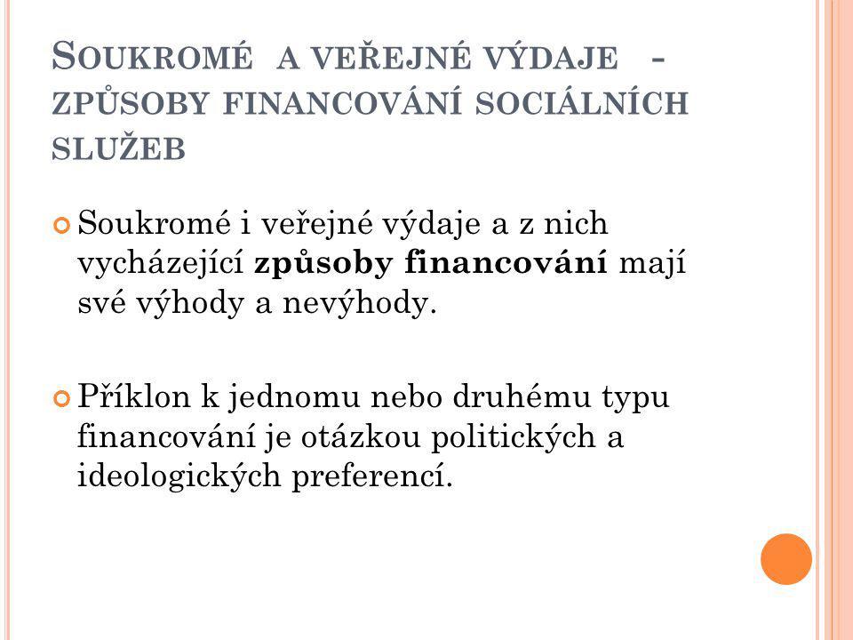 Soukromé a veřejné výdaje - způsoby financování sociálních služeb