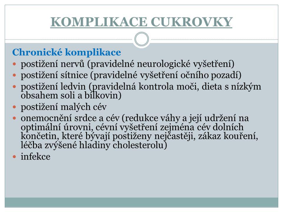 KOMPLIKACE CUKROVKY Chronické komplikace