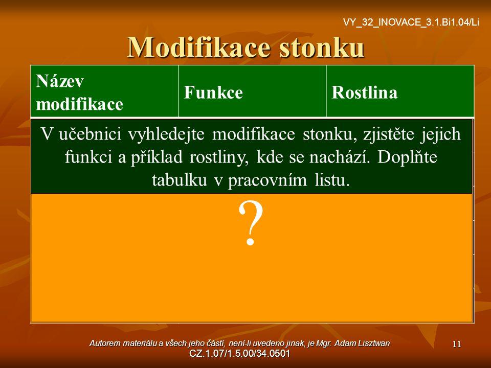Modifikace stonku Název modifikace Funkce Rostlina oddenek zásobní