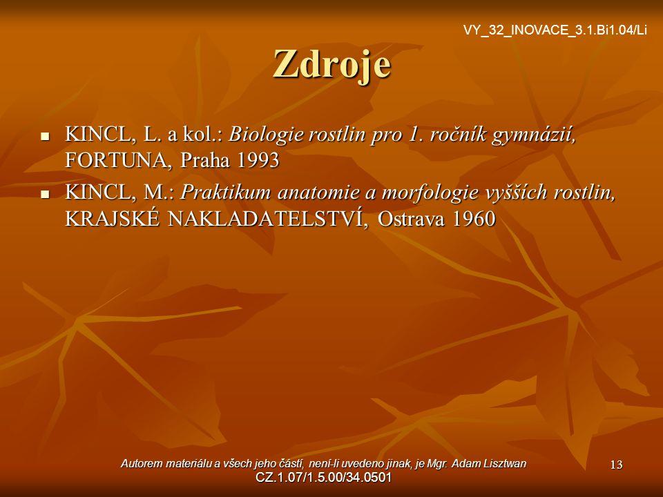 VY_32_INOVACE_3.1.Bi1.03/Li Zdroje. VY_32_INOVACE_3.1.Bi1.04/Li. KINCL, L. a kol.: Biologie rostlin pro 1. ročník gymnázií, FORTUNA, Praha 1993.