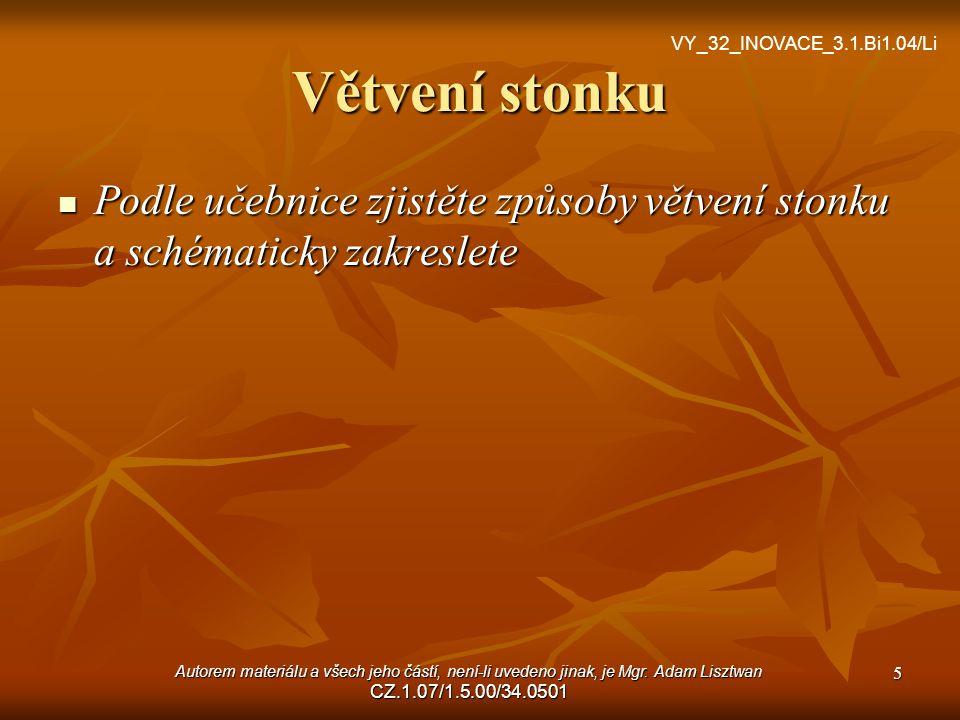 Větvení stonku VY_32_INOVACE_3.1.Bi1.04/Li. Podle učebnice zjistěte způsoby větvení stonku a schématicky zakreslete.