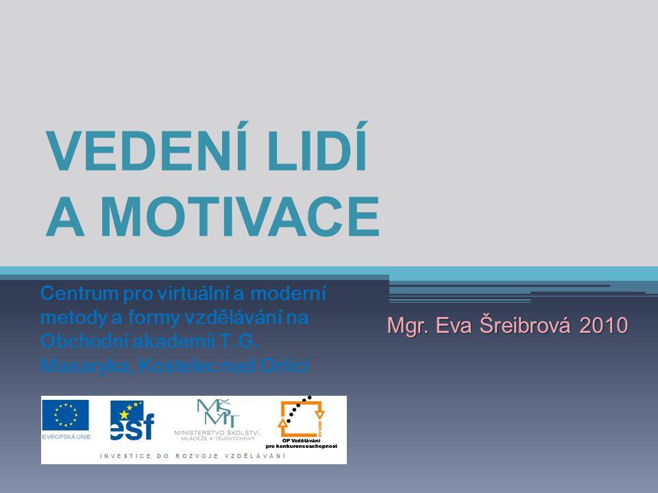 VEDENÍ LIDÍ A MOTIVACE Mgr. Eva Šreibrová 2010