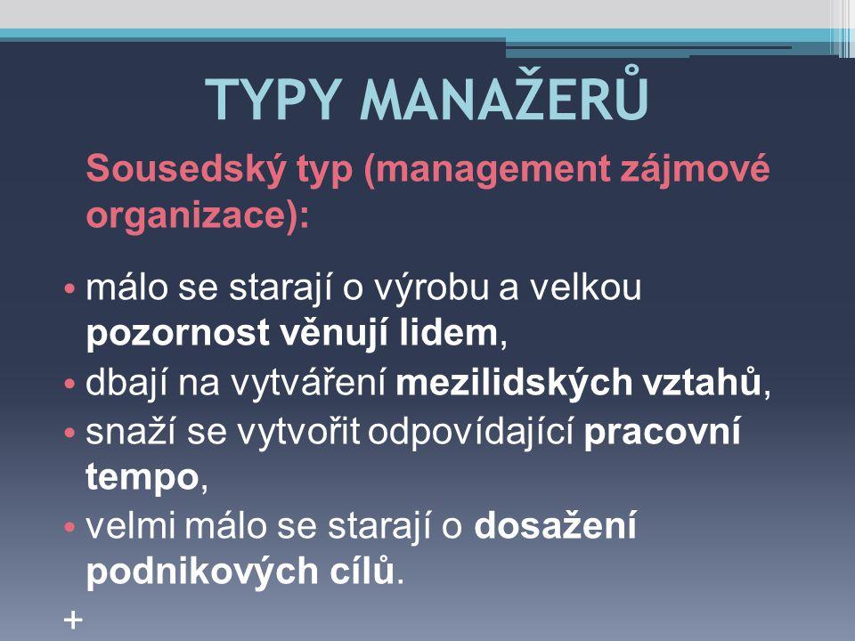 TYPY MANAŽERŮ Sousedský typ (management zájmové organizace):