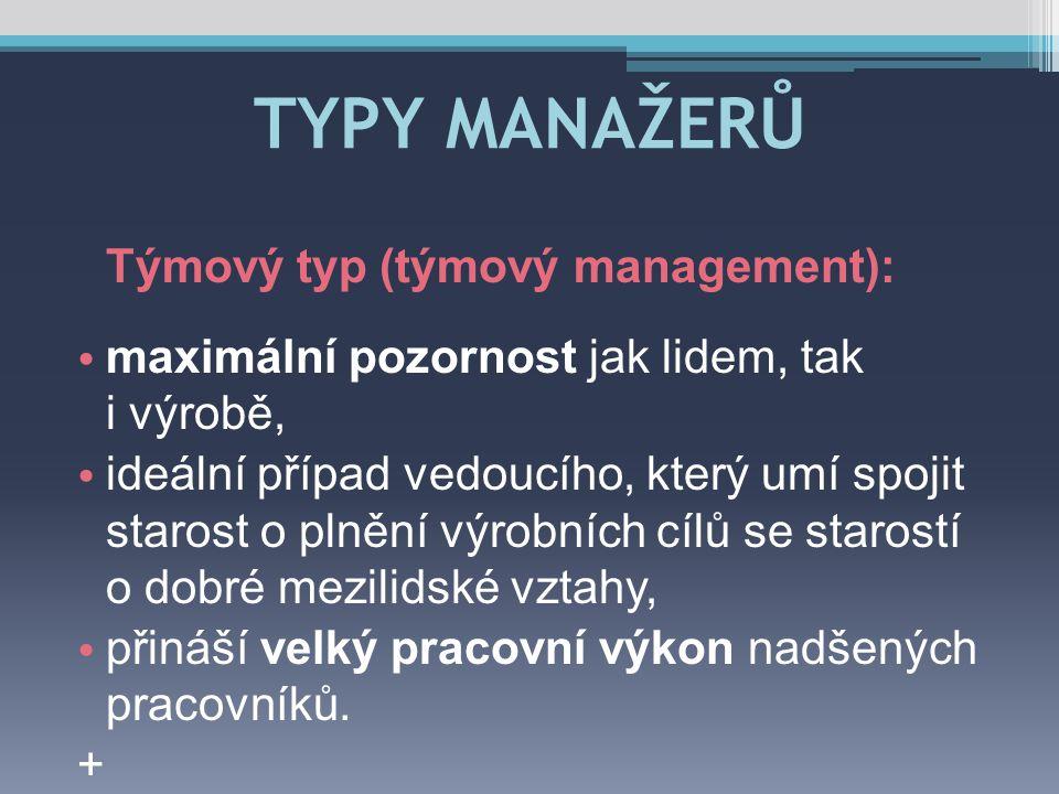 TYPY MANAŽERŮ Týmový typ (týmový management):
