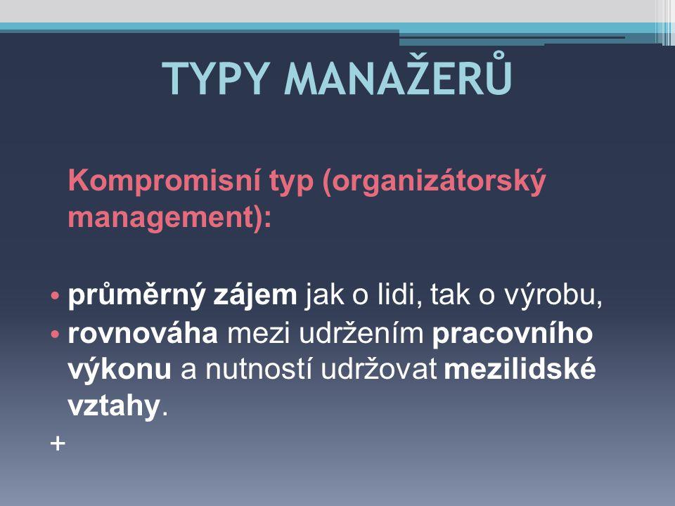 TYPY MANAŽERŮ Kompromisní typ (organizátorský management):