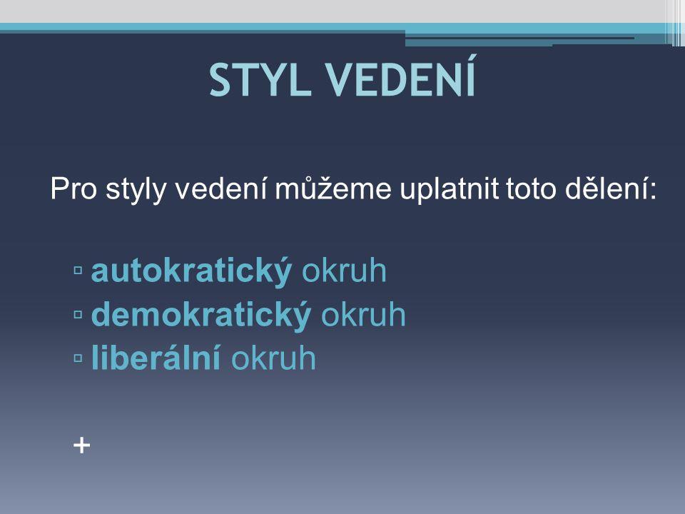 STYL VEDENÍ autokratický okruh demokratický okruh liberální okruh +
