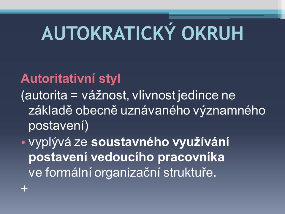 AUTOKRATICKÝ OKRUH Autoritativní styl