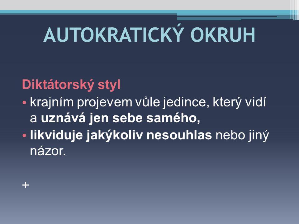 AUTOKRATICKÝ OKRUH Diktátorský styl
