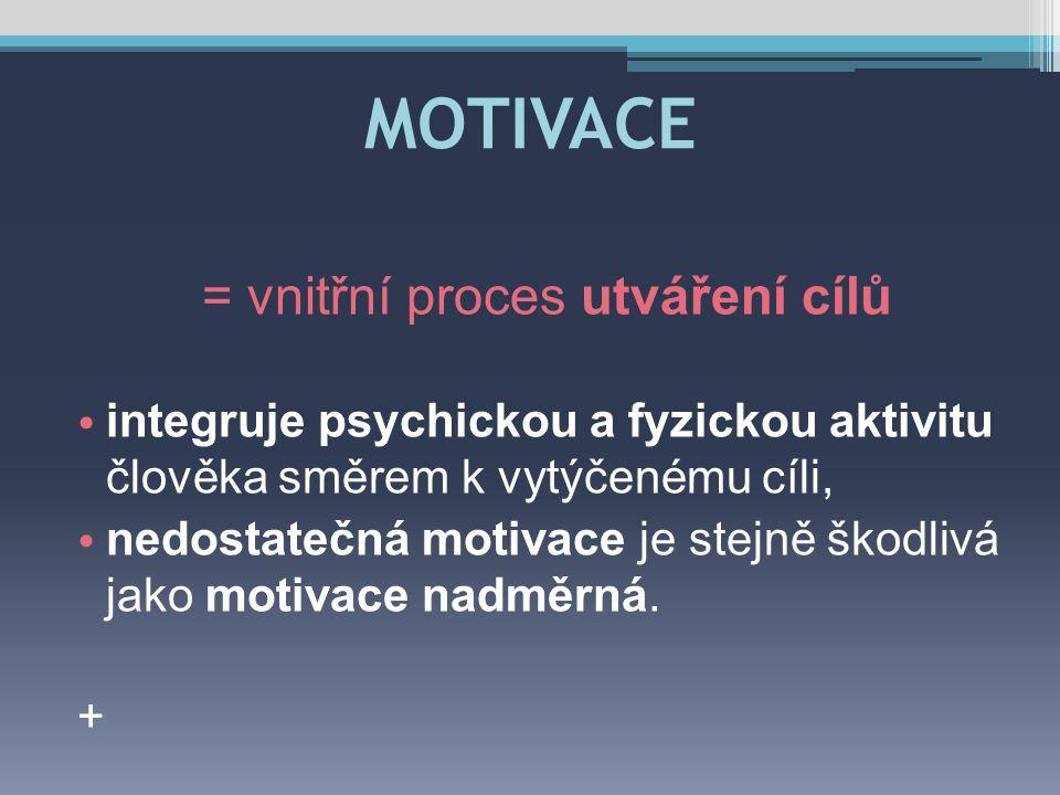 = vnitřní proces utváření cílů