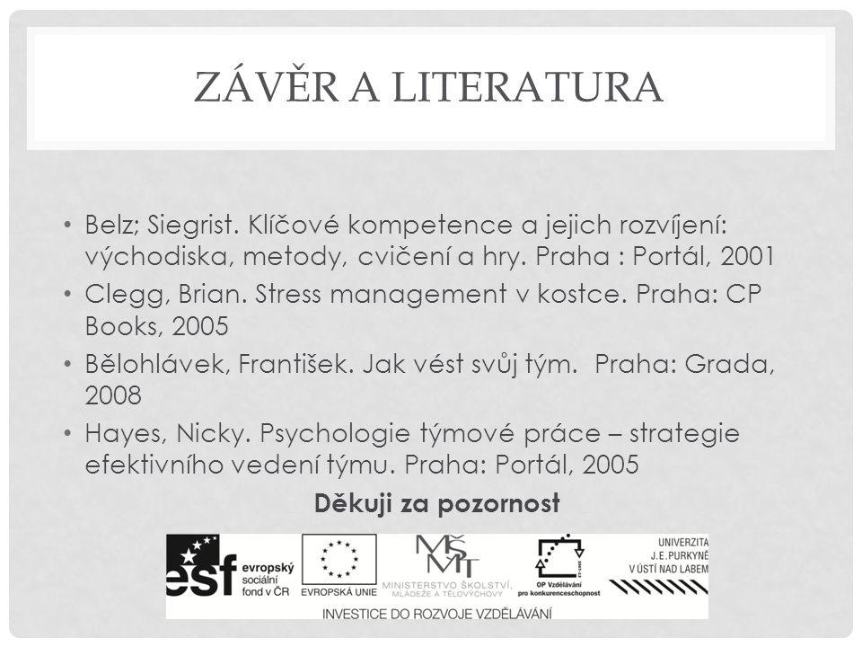 závěr a literatura Belz; Siegrist. Klíčové kompetence a jejich rozvíjení: východiska, metody, cvičení a hry. Praha : Portál, 2001.