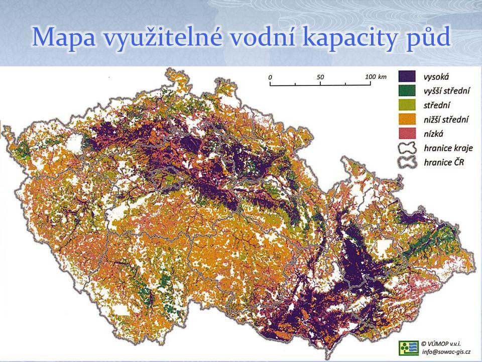 Mapa využitelné vodní kapacity půd