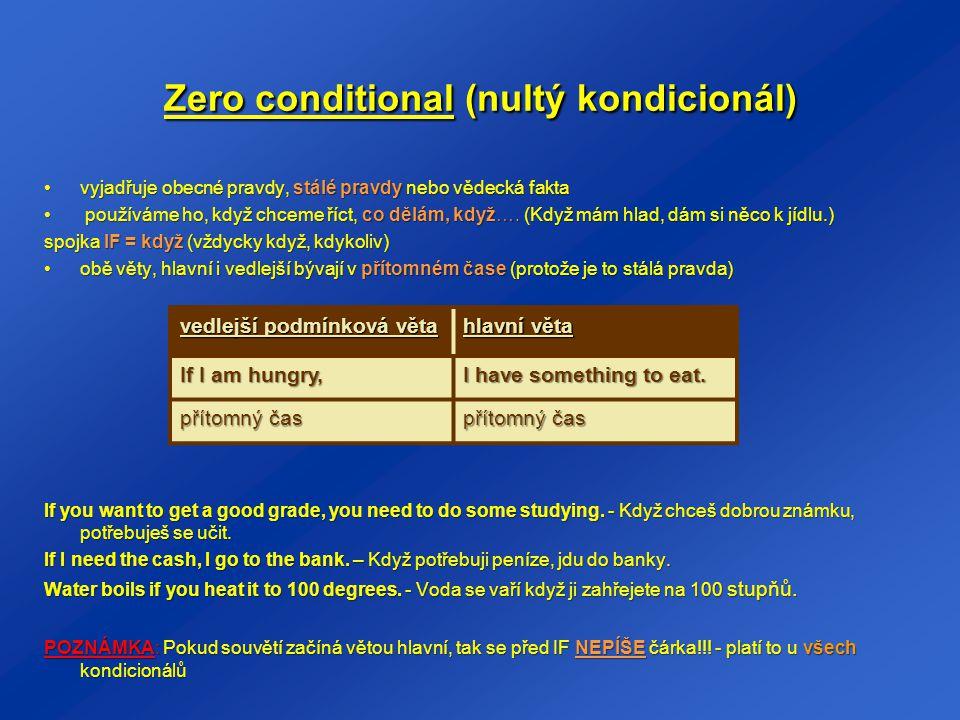 Zero conditional (nultý kondicionál)