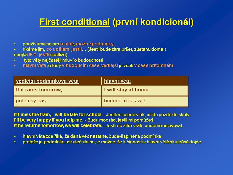 First conditional (první kondicionál)