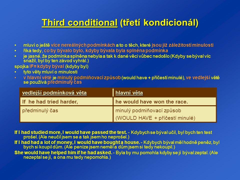 Third conditional (třetí kondicionál)