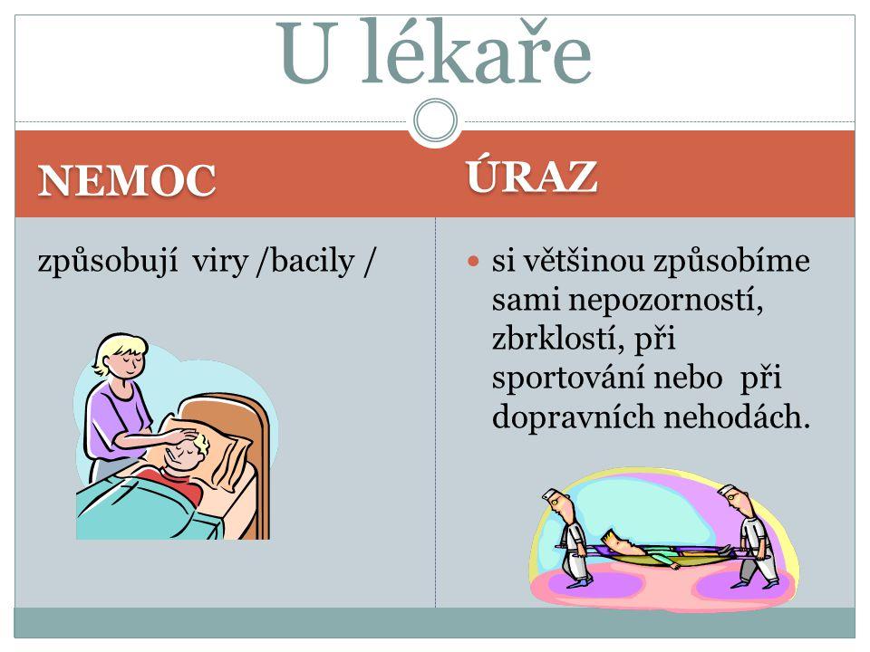 U lékaře ÚRAZ NEMOC způsobují viry /bacily /
