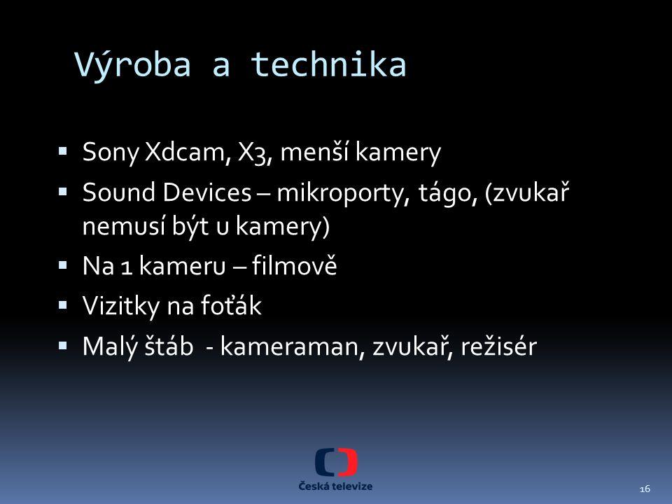Výroba a technika Sony Xdcam, X3, menší kamery