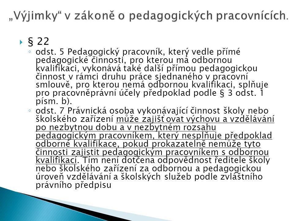 """""""Výjimky v zákoně o pedagogických pracovnících."""