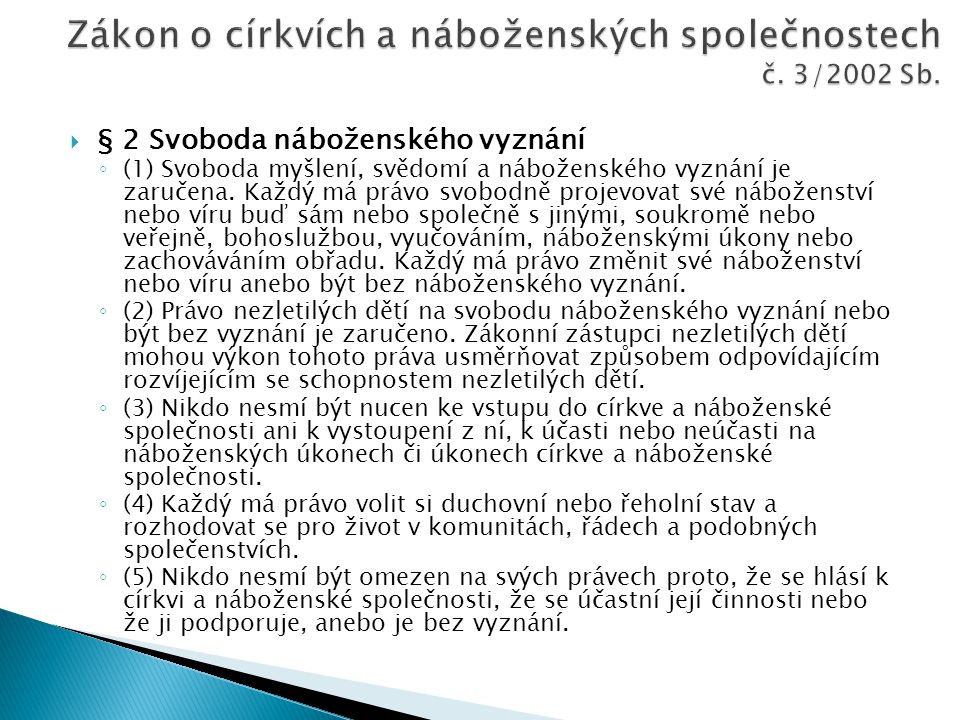 Zákon o církvích a náboženských společnostech č. 3/2002 Sb.