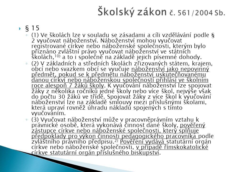 Školský zákon č. 561/2004 Sb. § 15.