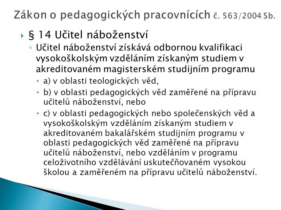 Zákon o pedagogických pracovnících č. 563/2004 Sb.