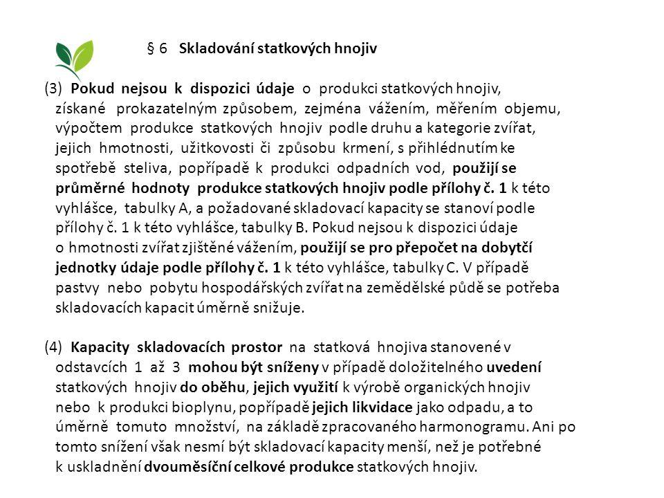 § 6 Skladování statkových hnojiv