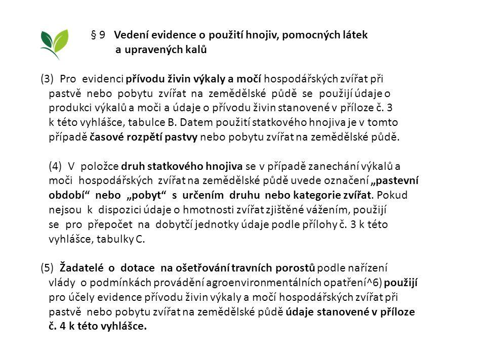 § 9 Vedení evidence o použití hnojiv, pomocných látek