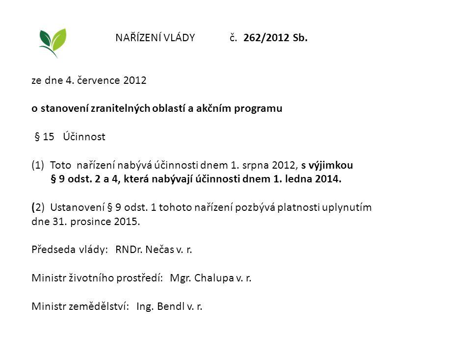 NAŘÍZENÍ VLÁDY č. 262/2012 Sb. ze dne 4. července 2012. o stanovení zranitelných oblastí a akčním programu.