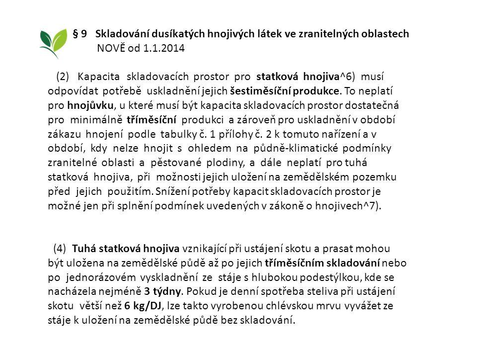 § 9 Skladování dusíkatých hnojivých látek ve zranitelných oblastech