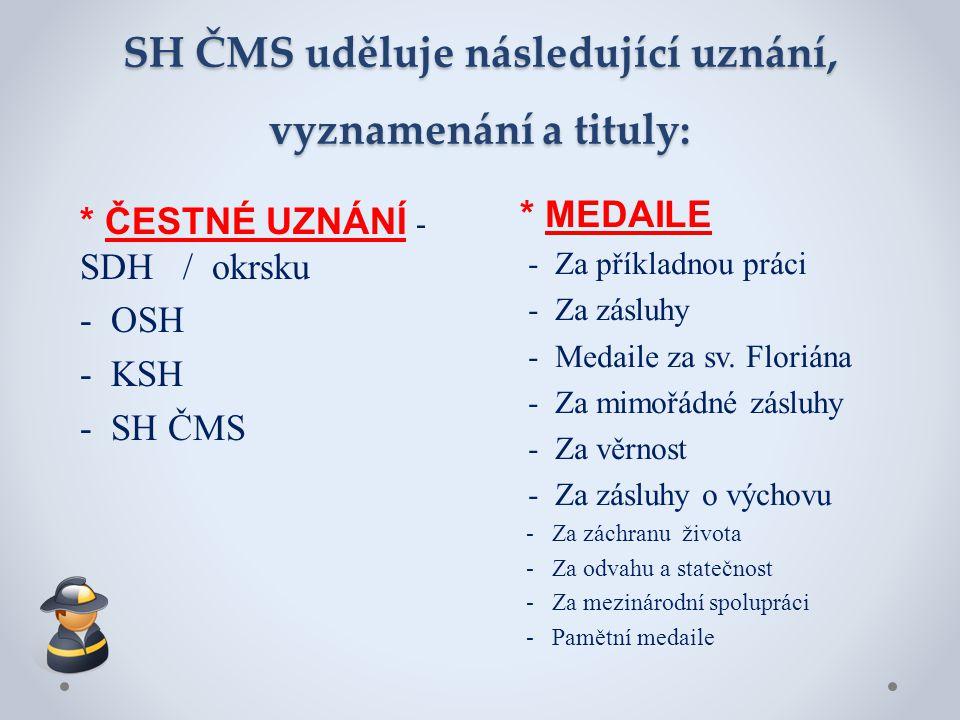 SH ČMS uděluje následující uznání, vyznamenání a tituly: