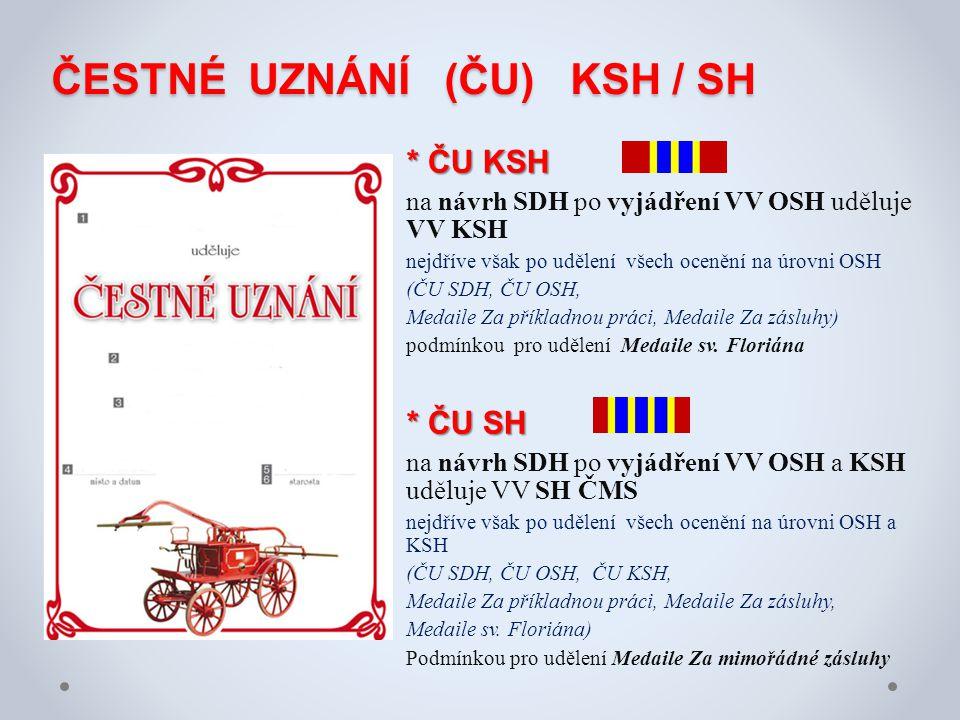 ČESTNÉ UZNÁNÍ (ČU) KSH / SH