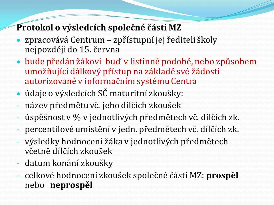 Protokol o výsledcích společné části MZ